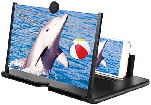 Handy Vergrößerungs Bildschirm,10-Zoll Bildschirm Vergrößerungsglas, Ausziehbarer HD Bildschirm gegen Blaulicht, Bildschirmlupe Ständer für das Ansehen von Filmvideos auf Alle Smartphone (Schwarz )