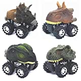 Dinosaur Toys for 3 Year Old Boys, 4-Pack Dinosaurs Car Toys for 3+ 4 5 6 7 Year Old Boys Girls, Stocking Stuffers for Kids, Easter Basket Stuffers, Pull Back Vehicles, Easter Christmas Birthday Gift