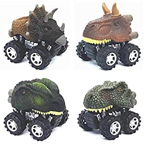 [NOVELTY] - Include 4 units different dinosaur shape cars (Triceratops, Tyrannosaurus Rex, Dilophosaurus, Tatankacephalus), which is a great attraction to kids. [SAFETY] - Made with non toxic and durable thick plastic material,the shell is slightly s...