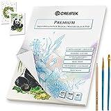 CreaTek Aquarellpapier A5 | 40 Blatt | 300g | geleimt und kaltgepresst + Premium Detail Pinsel und Gratis Illustrationen - hochwertiger Aquarellblock A5 perfekt für Anfänger Watercolor Paper