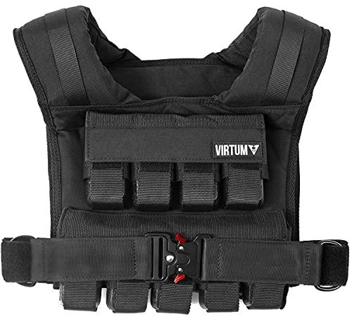 VIRTUM® Chaleco Lastrado 20 kg con Peso Incluido - Lastre Ajustable , Pesas de Hierro Extraibles para Entrenamiento de Calistenia y Fuerza