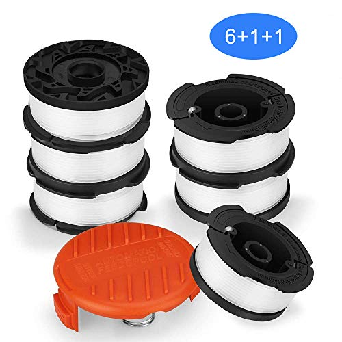SUERW Line String Trimmer Replacement Spool, [8-Pack] 30ft 0.065' Replacement Autofeed Spool for Black+Decker String Trimmer [6 x Replacement Line +1 x Replacement Cap +1 x Replacement Spool Spring]