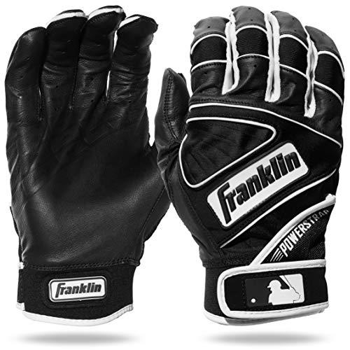 Franklin Sports MLB Powerstrap Batting Gloves, Black/Black