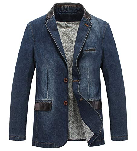 Itemnew Man's Sports Notched Collar 2 Button Slim Distressed Denim Blazer Jacket Leather Trim (X-Large, Blue)