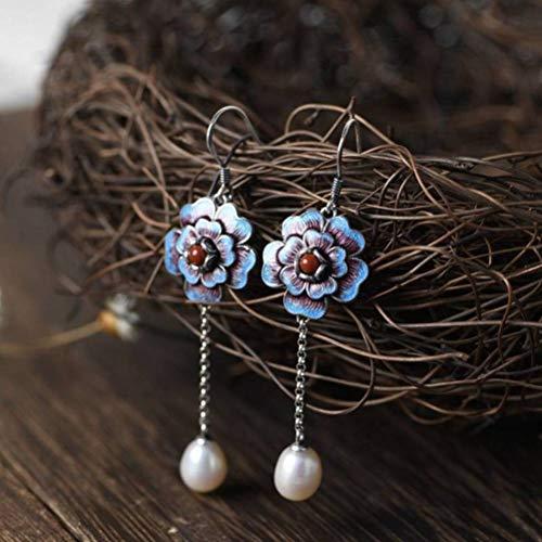 WOZUIMEI Pendientes de Gota S925 Pendientes de Perlas de Agua Dulce de Plata Estilo Chino para Mujer Pendientes de Cadena de Perlas Abiertas de Flor Azul Quemada Ricaperla