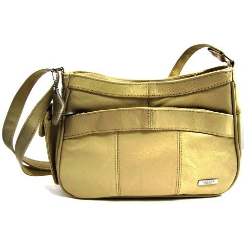 Stadlbauer Damen Leder Handtasche/Umhängetasche mit seitlicher Handytasche. (Beige)