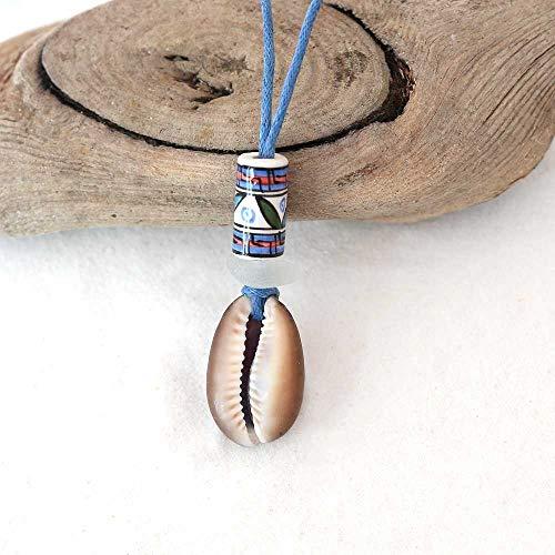 Kette mit Kaurimuschel im Ethno-Style mit echtem Seeglas/Meerglas und Keramikperle