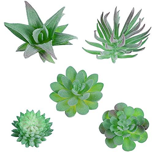 WINOMO Lot de 5 mini plantes vertes artificielles - Fausses plantes grasses, vertes, succulentes et cactus Pour bureau, maison, table, jardin, décoration