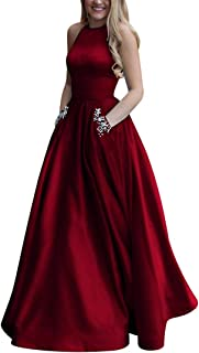 61931d29efae Women s Long Beaded Halter Satin Prom Dress A Line Open Back Evening Gowns  with Pockets