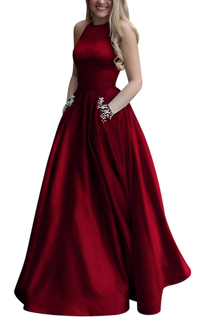 Prom Dresses - Long Lace Satin Prom Dress With Slit Off Dress Evening Gown For S