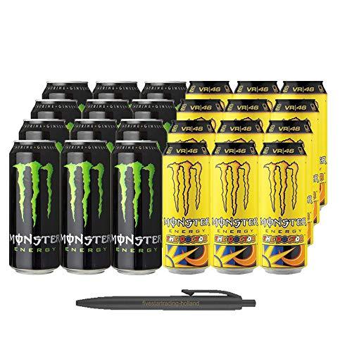 1x12 Monster Energy und 1x12 Monster Rossi The Doctor (Insgesamt 24 Einweg-Dosen x 0,5 L) Inkl. Gratis FiveStar Kugelschreiber