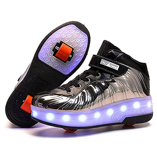 Churlin Patines LED con ruedas dobles para niños y niñas, luces LED luminosas, rollerblades multideporte al aire libre Gimnasia zapatillas, color Negro, talla 38/38.5 EU