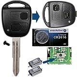 Auto Schlüssel Funk Fernbedienung 1x Gehäuse 2 Tasten TOY41 + 1x Tastenfeld + 2X Mikrotaster + 1x CR2016 Batterie für Toyota