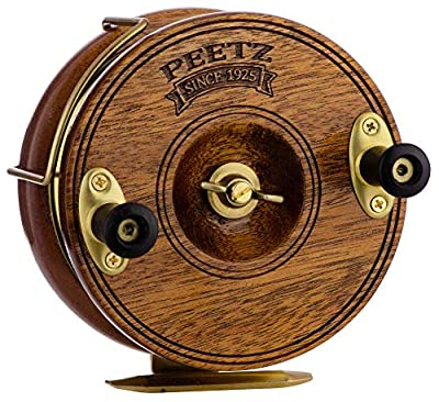 Peetz Trolling Reel, 4-Inch Single Action | 'Classic' | Handcrafted | Mahogany Wood & Brass | Nottingham Style