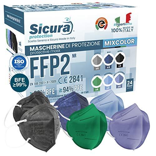 24 Mascherine FFP2 Colorate Certificate CE Made in Italy SICURA BFE ≥99% Mascherina FFP2 in 6 Colori Nere, Blu Jeans, Azzurre Verdi Lavanda e Grigie scuro. Pluri certificata ISO 13485 e ISO 9001