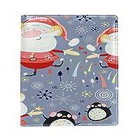 Carrozza ブックカバー 文庫 新書 雪柄 クリスマス サンタクロース ペンギン 本カバー 16x22cm おしゃれ かわいい PUレザー 革