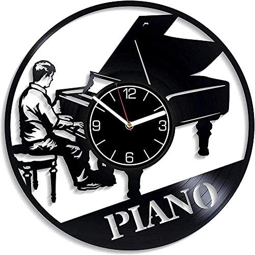 GONGFF Reloj de Pared de Vinilo 12 Pulgadas cumpleaños decoración Hecha a Mano Regalo-Piano Creativo Reloj de decoración Retro