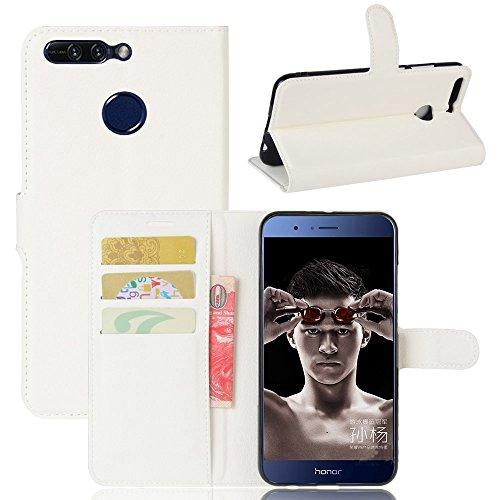 Guran® Custodia in Pu Pelle per Huawei Honor V9 / V8 PRO Smartphone Avere Portafoglio e Funzione Stent Case Flip Cover Caso Copertura Protettiva-Bianco