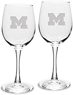 NCAA Michigan Wolverines Adult Set of 2 - 12 oz White Wine Glasses Deep Etch Engraved, One Size, Clear