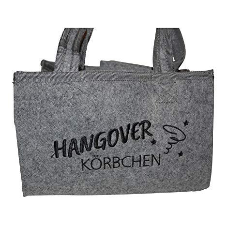 all-around24 Filz Bottlebag Herrenhandtasche, Filztasche, Flaschentasche, Bier Tasche Flaschenkorb Flaschenträger Männerhandtasche (1 x Hangover Körbchen Hell-Grau)