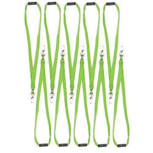 CKB Ltd 10x Breakaway Green Grün Lanyard Neck Strap Band Halsband Metall-Klipp For ID Card Ausweiskartenhalter Schlüsselband mit Sicherheitsverschluss Schlauchband Holder Für Veranstaltungen Events Ausweise Messen Namensschilder