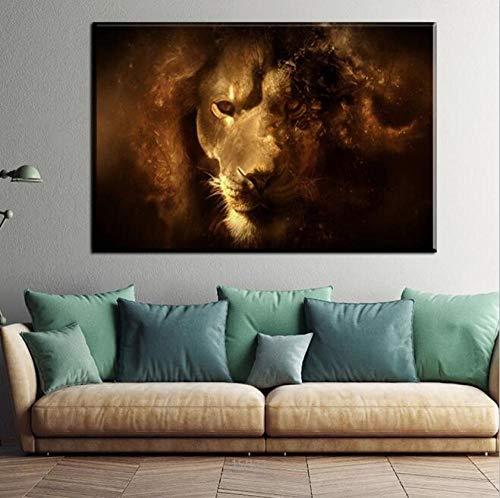 Canvas foto woondecoratie woonkamer HD print 1 / zwart zwarte leeuw schminken dier poster wall art-60x100cm_no_frame_1100