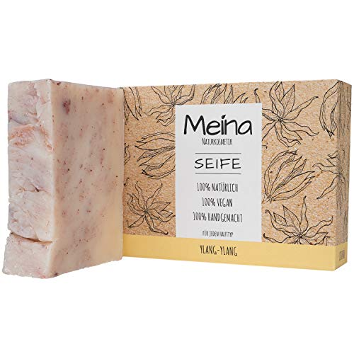 Meina Naturkosmetik - Seife mit Ylang-Ylang (1 x 100 g) Palmölfrei, Natürlich, Vegan, Handgemacht, Bio Naturseife - Körperpflege und Gesichtspflege