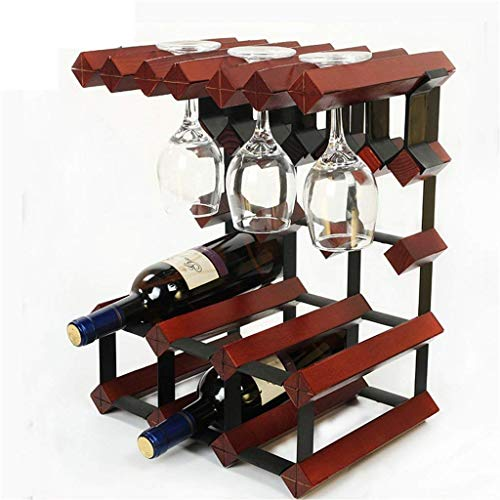 Wine Rack-Halter 6 Flaschen Weinregal -Solid Holz Multifunktionsboden Weinregal Goblet Hanging Shelf WTZ012 (Color : Red Wine)