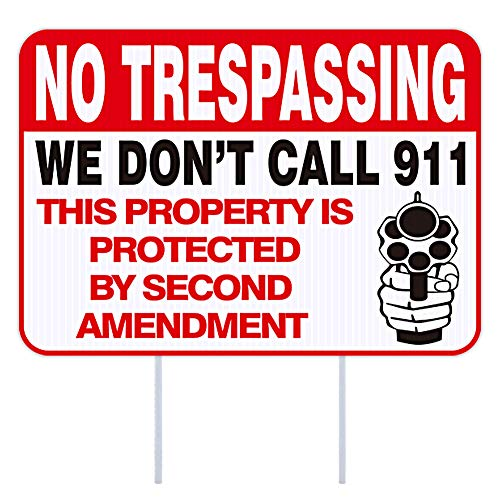 WaaHome Funny No Trespassing Signs Private Property, 10''X14'' No Trespassing Yard Sign with Stakes, Safety & Privacy Gun Warning Sign