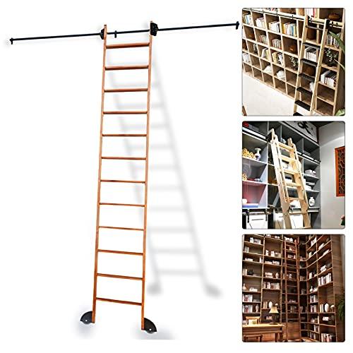 Kit de la pista de rodadura de la escalera 3.3ft-20ft, ferrocarril móvil conjunto completo con ruedas de rodillos piso y redondo extensión (sin escalera) para la biblioteca /loft/home/indoor /bookstor