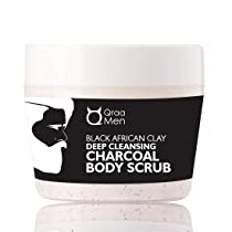Black African Clay Deep Cleansing Charcoal Body Scrub For Skin Whitening, Lightening and Polishing-200g