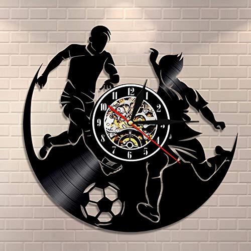 LED Reloj de pared de vinilo colorido Juego de deportes de fútbol, reloj de pared para habitación de niño, reloj de pared con registro de vinilo de fútbol, reloj de pared para jugador de fút