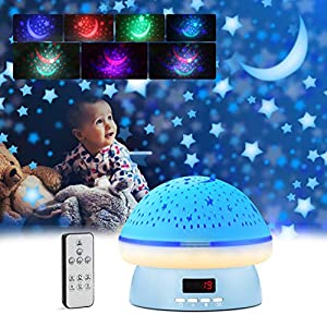 Baby Night Light GoLine Best Gifts for Easter Star Projector Night Light for Kids for Baby Room Decor with Remote Control Timer Rotating Moon Star Projector for 1-12 Years Old Boys Girls (Blue)