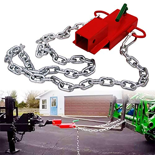 Lonwin 2'' Pallet Fork Trailer Towing Adapter Clamp On Forklift Hitch Receiver with Safety Chain