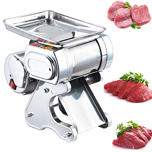 NEWTRY 1.7mm Electric Meat Vegetables Cutter Slicer Deli Food Cutting Fish Slicing Machine Stainless Steel 175lb/h 600W with Removable Blade for Family Kitchen (with a 1.7mm blade)