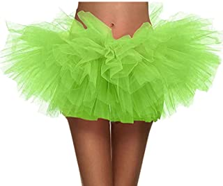 Moholl Women's, Teen, Adult Classic Elastic 3, 4, 5 Layered Tulle Tutu Skirt Short Ballet Bubble Puffy Petticoat Skirt