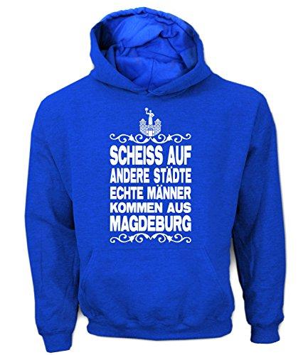Artdiktat Herren Hoodie - Scheiß auf andere Städte - Echte Männer kommen aus Magdeburg Größe XL, blau