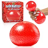Beadeez Squishy Stress Balls with Gel Water Beads - Jumbo Size (Red) - Anti-Stress ADHD Anxiety Relief Sensory Toy for Kids and Adults - Promote Calm Focus, Reduce Hand, Wrist Pain