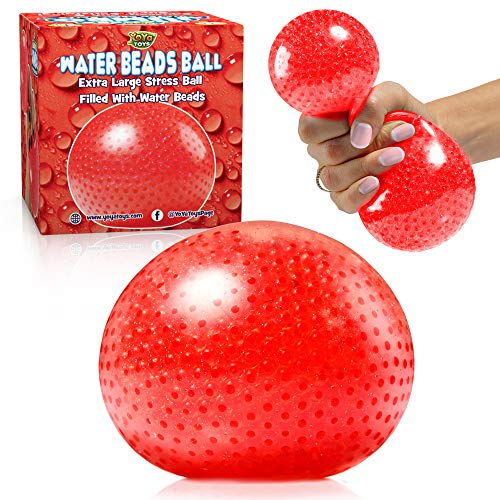 YoYa Toys Beadeez Squishy Stress Balls with Gel Water Beads - Jumbo Size (Red) - Anti-Stress ADHD Anxiety Relief Sensory Toy for Kids and Adults - Promote Calm Focus Reduce Hand Wrist Pain