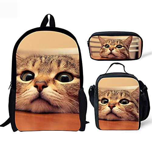 Poceacles Cute Cat Printed Kids Backpack Set, Teen Boys Girl Shoulder 17 Inches Shoulder School Bags Insulated Thermal Lunchbox with Pencil Case 3 in 1