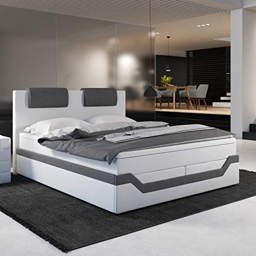 INNOCENT® - Barari | 180x200cm H3 | Designer Boxspringbett in Weiss Kunstleder/Stoff Grau | Hotelbett Designerbett in Härtegrad H3