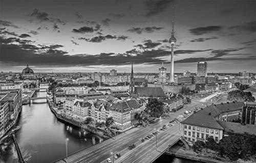 Fototapete selbstklebend | Berlin - Skyline | in schwarz-weiß 360x230 cm | Bild-tapete Moderne Wand-deko Dekoration Wohnung Wohnzimmer Wandtapete | 501261