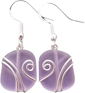 """product image for Handmade in Hawaii, wire wrapped""""Magical Color Changing"""" purple sea glass earrings, February Birthstone, (Hawaii Gift Wrapped, Customizable Gift Message)"""
