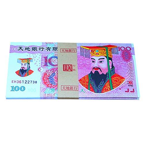 fasloyu 100 Stück Chinese Joss Paper - Ancestor Money Heaven Banknoten für Bestattungen Chinese Joss Papier Heaven Hell Bank Note (A)