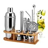 HALOVIE Cocktail Shaker, 12 teiliges professionelles Cocktail Set, Cocktailshaker Edelstahl Cocktail Kit 750ML Cocktail Shakers Bar Zubehör Boston Shaker Mixer für Getränkemischen mit Holzständer