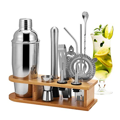 HALOVIE Set Cocktail Professionale Completo 12 Pezzi Cocktail Shaker Set 750ml in Acciaio Inossidabile con Supporto Cannucce Kit Barman di Casa per Bar Drink Margarita Manhattan