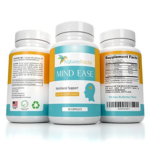 Migraine Relief Supplement - PA Free Butterbur Root, Riboflavin, Magnesium and Feverfew Capsules- Mind Ease