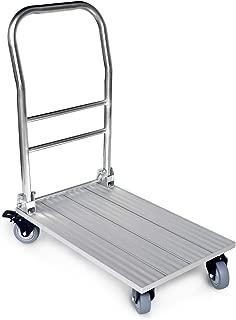 Vtuvia Folding Aluminum Platform Cart with Secure Brakes on Swivel Wheels, 660 lbs Heavy Duty, 28