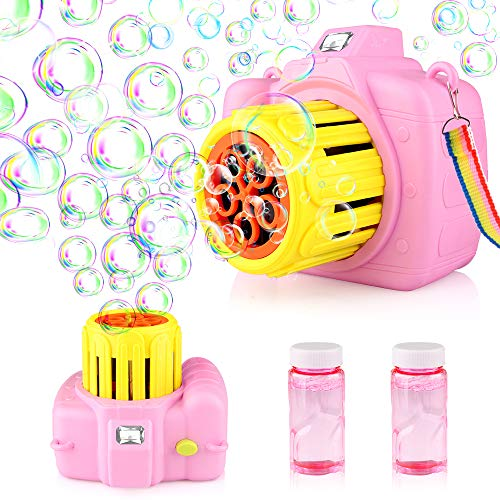Orange Bubble Blower and Portable Fan Two in One Design Indoor and Outdoor Fun Summer Toy Bubble Machine with Solution for Party Baby Dinosaur Bubble Gun