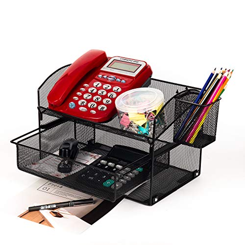 VANRA Desk Organizer Set Metal Mesh Desktop Telephone Stand with Pencil Cup Holder, 2 Piece Black